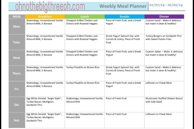 Meal Plan 01-27-14